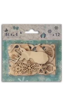 Assortment of 12 wooden shapes Let it snow