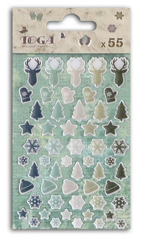 55 adornos epoxy cerf, sapin, copo de nieve