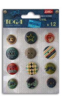 Surtido de 12 botones impresos 100% masculino