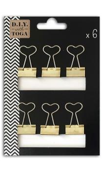 6 Medium heart gold clip tweezers