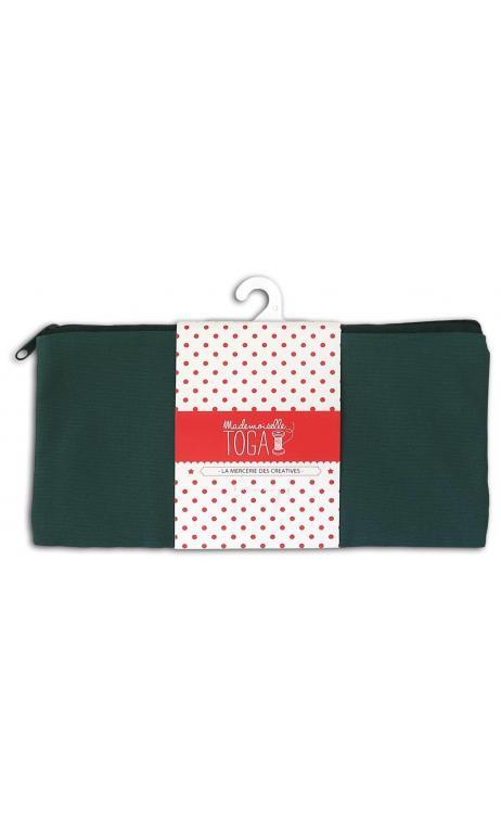 Bolsa plana con cremallera mediana verde caqui