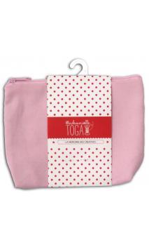 Bolsa con fuelle con cremallera mediana rosa pastel