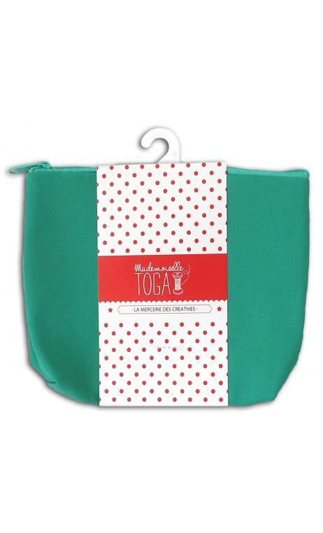 Bolsa con fuelle con cremallera mediana verde almendra