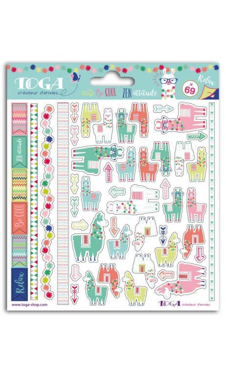 2 sheets 15x15 lama stickers