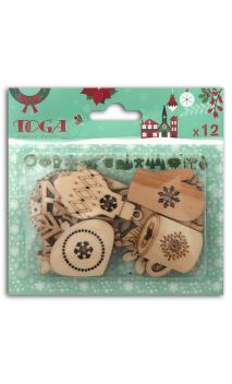 Surtido 12 formas madera Feliz Navidad