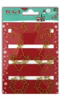 Assorted 8 gold Christmas clips