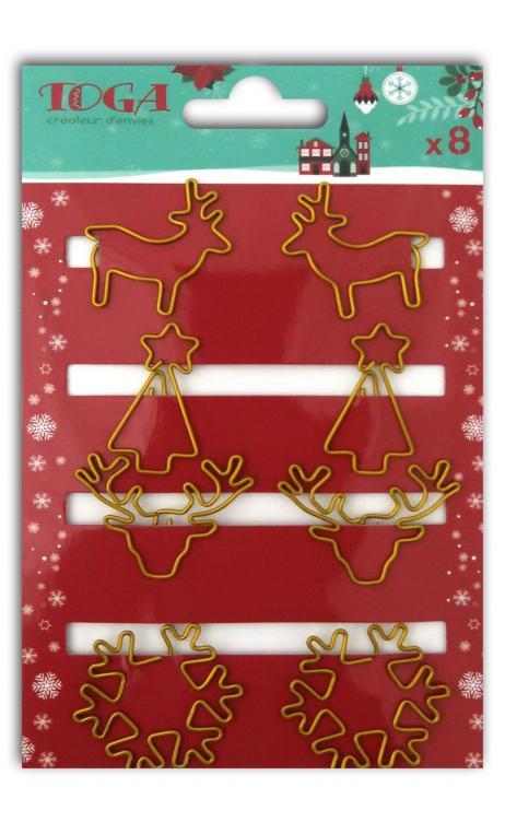 Surtido 8 clips Navidad oro