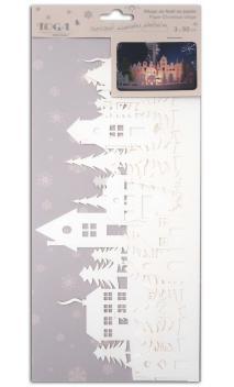Pueblo de Navidad en papel 3x30 cm