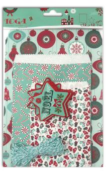 Surtido 12 sobres imprimes Feliz Navidad