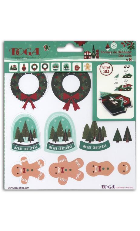 Hoja con 8 formas recortadas 3d Feliz Navidad