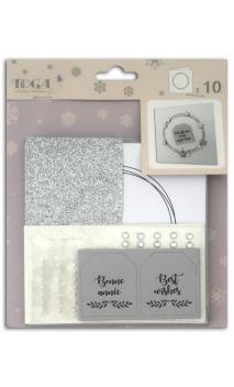 set 10 tarjetas blanco y plata