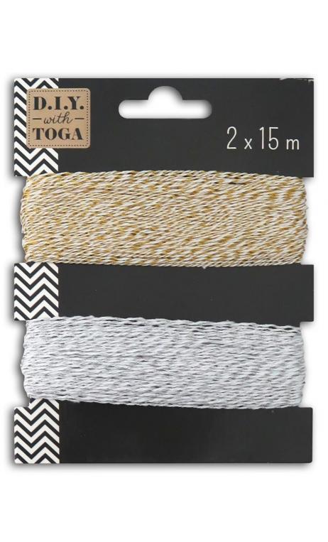 Surtido 2 ficelles bicolore5 15m or y plata