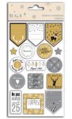 1 hoja stickers para envoltorios de regalos oro y plata