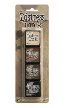 Kit 4 tintas mini distress beige-marron-negro