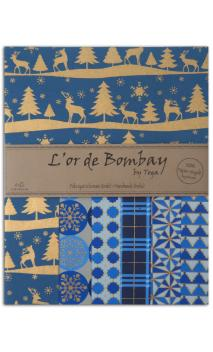 L'or de Bombay-6 hojas Surtido de27,8x21,6cm - Navidad azul