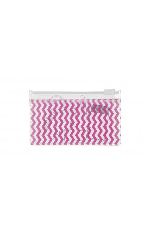 Bolsa zip, zigzag rosa