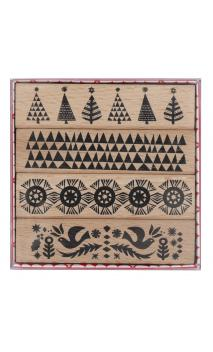 Set Sellos madera christmassy borders