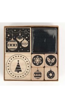 Set Sellos madera modern christmas