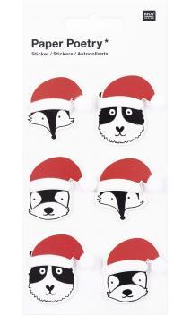 Stickers 3D,animal s. beanie sta.claus