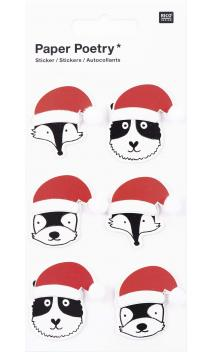Stickers 3D,animal s. gorro sta.claus