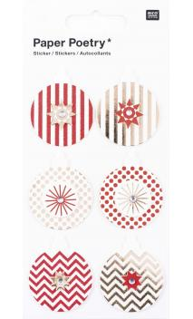 Stickers 3Ds, bolas rojo/oro