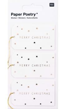 Stickers 3D, etiquetas merry christmas