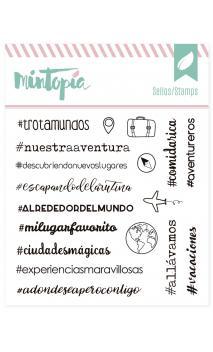 Sellos acrílicos Hashtags viajeros 10 cm x 10 cm