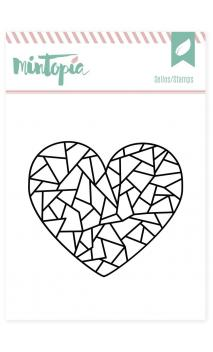 Sellos acrílicos Corazón geométrico 5 cm x 5 cm