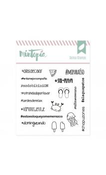 Sellos acrílicos Hashtags veraniegos 10 cm x 10 cm