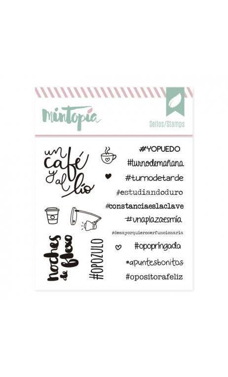 Sellos acrílicos Hashtags para opositoras 10 cm x 10 cm