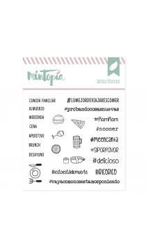 Sellos acrílicos Hashtags deliciosos 10 cm x 10 cm
