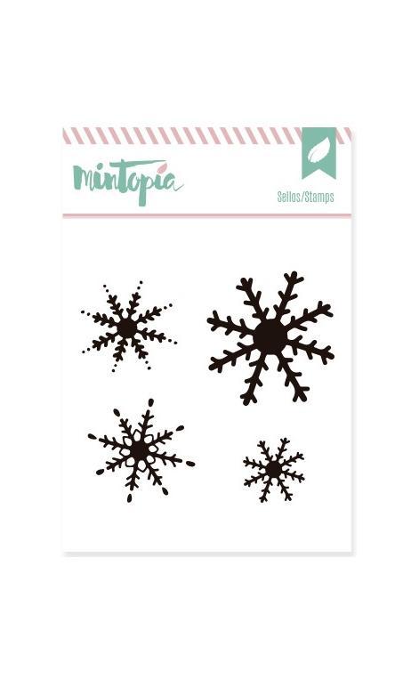Sellos acrílicos Nieve 5 cm x 4,5 cm