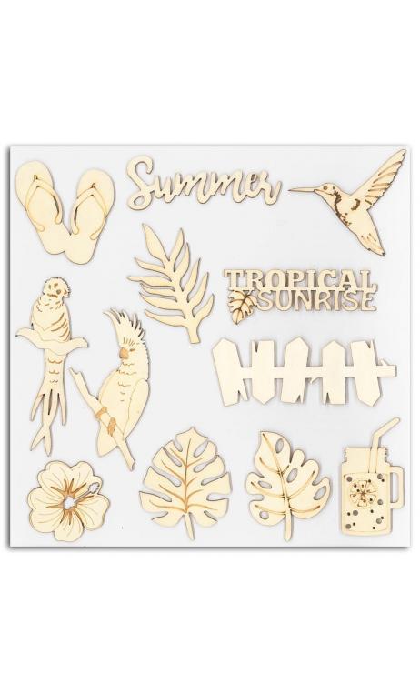 Surtido 12 formas madera Papel Tropical Paradise