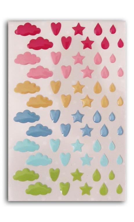 60 adornoS epoxy Nubes Corazones Gotas