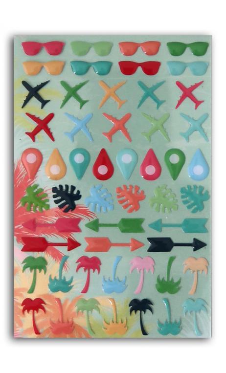 52 adornoS epoxy Papel Tropical Paradise