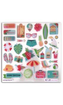 1 Hoja de Stickers. epoxy Papel Tropical Paradise