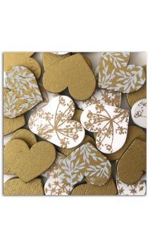 Surtido 25 confetis madera Corazones Dorados