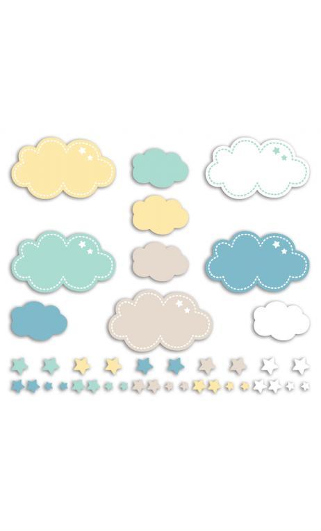 Surtido 20 formas recortadas Nubes Menta Azul Amarillo