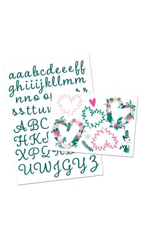 Alfabeto Termoadhesivo Verde Colores Floridos