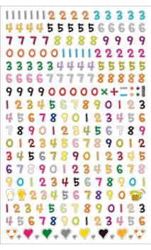 Pegatina numeros multicolor