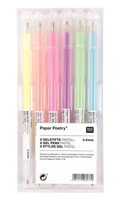 Lápiz de gel pastel, set 6 piezas 0,8 mm