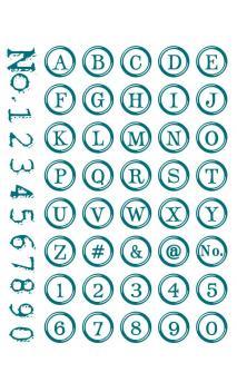 Sellos de silicona abecedario/números.,redondo 15,5/24,5 cm