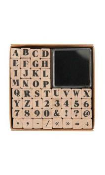 Juego de sellos Abecedario y números, 48 sellos, 1/1 cm