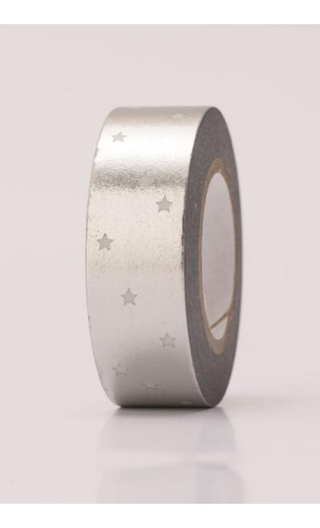 Estrellas adhesivas plata, hot foil 15 mm / 10 m
