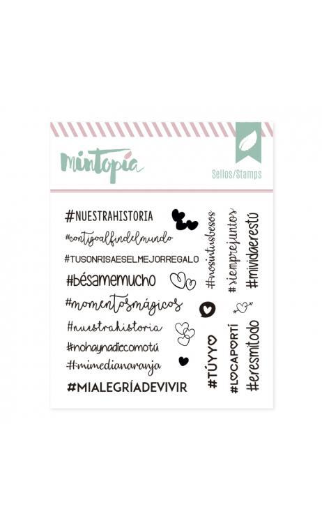 Sellos Hashtags Enamorados 10,5 x 10,5 cm
