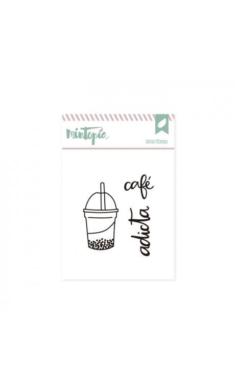 Sellos Café adicta 5 x 4,5 cm