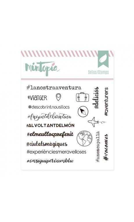 Sellos Hashtags viajeros Catalán 10,5 x 10,5 cm