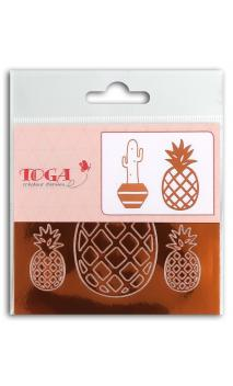 2 planchas stickers 8x9  peel off cactus ananas - cuivre