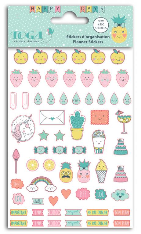8 planchas 500 stickers orga 10,5x15,5  happy days