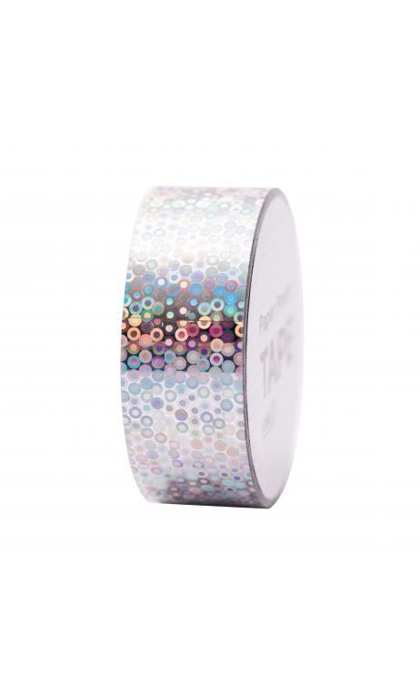 Cinta adhesiva holográfica, anillos plateados 19 mm/10 m